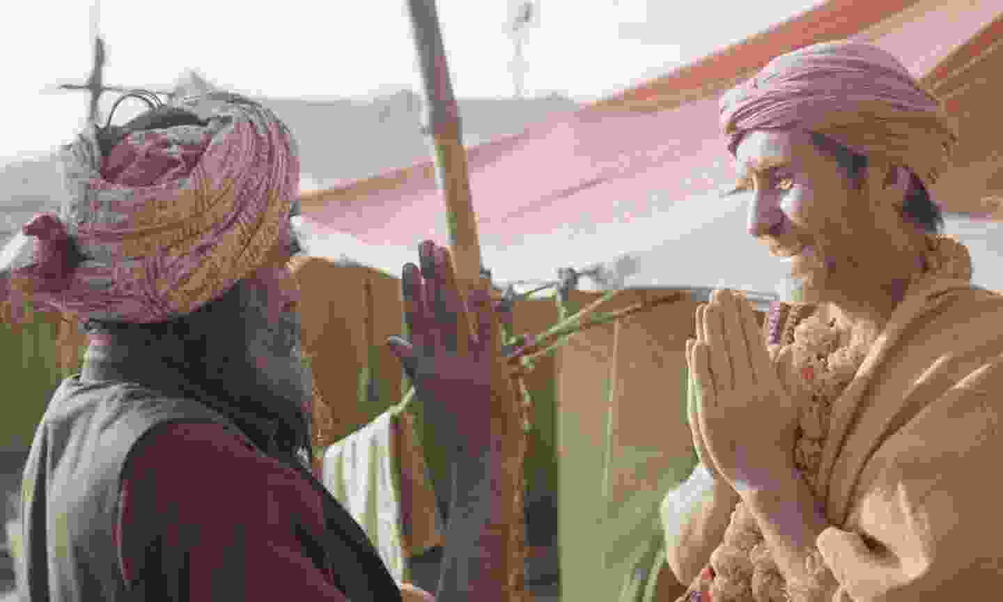 Bruce Parry is greeted in India (Quest Unlimited)