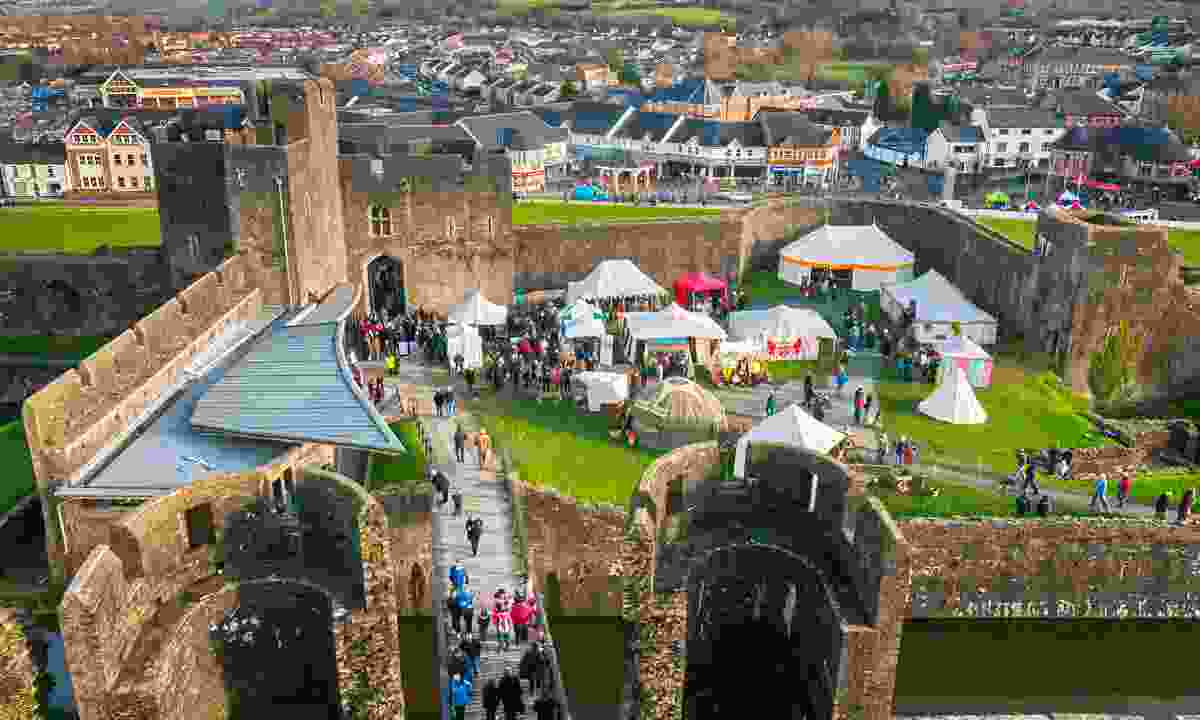 Aerial view of Caerphilly Castle Christmas Market (Visit Caerphilly)