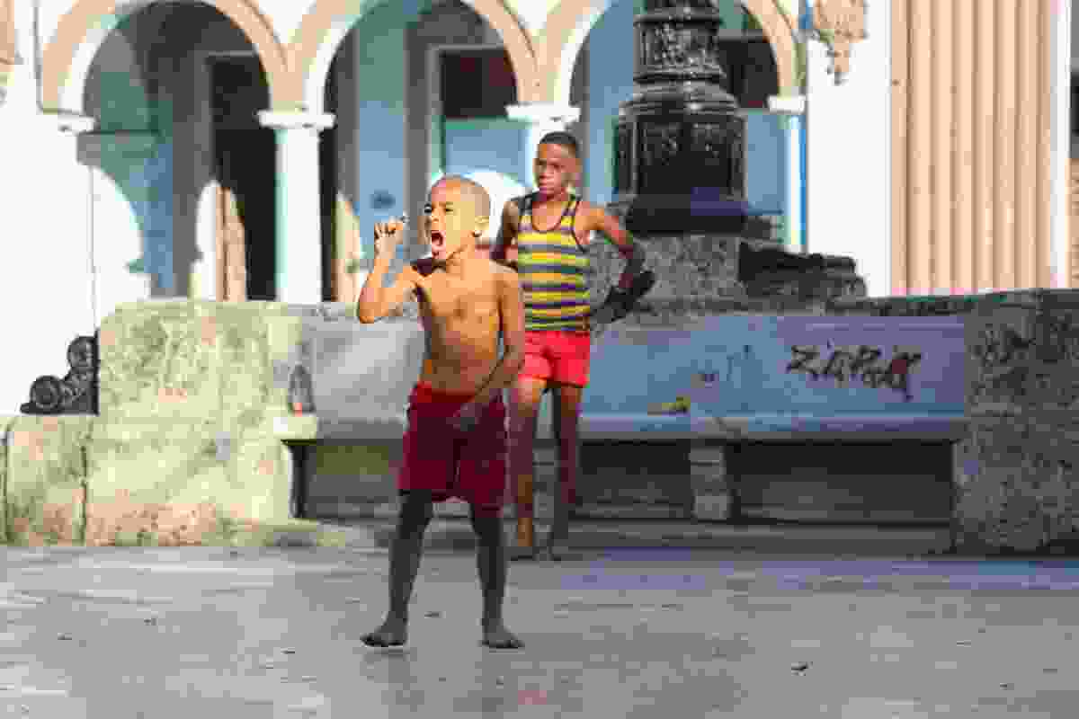 Football is taken seriously on the streets of Havana. Here, a local boy calls for the ball to be passed (Graeme Green)