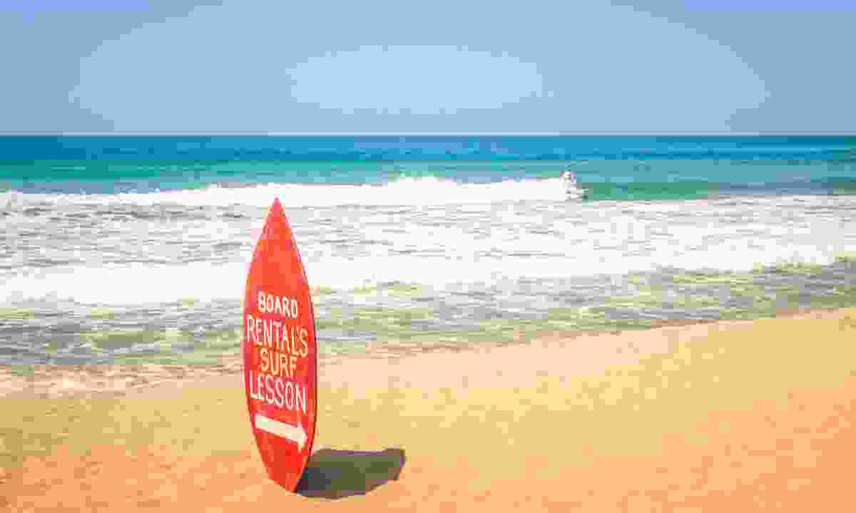 Surf school on Kuta Beach in Bali (Dreamstime)