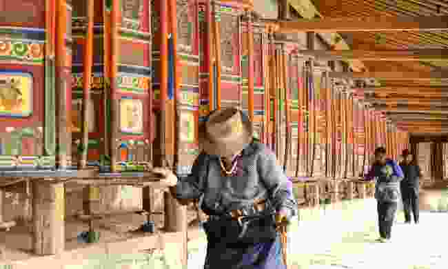 Prayer wheels at Labrang Monastery (Dreamstime)