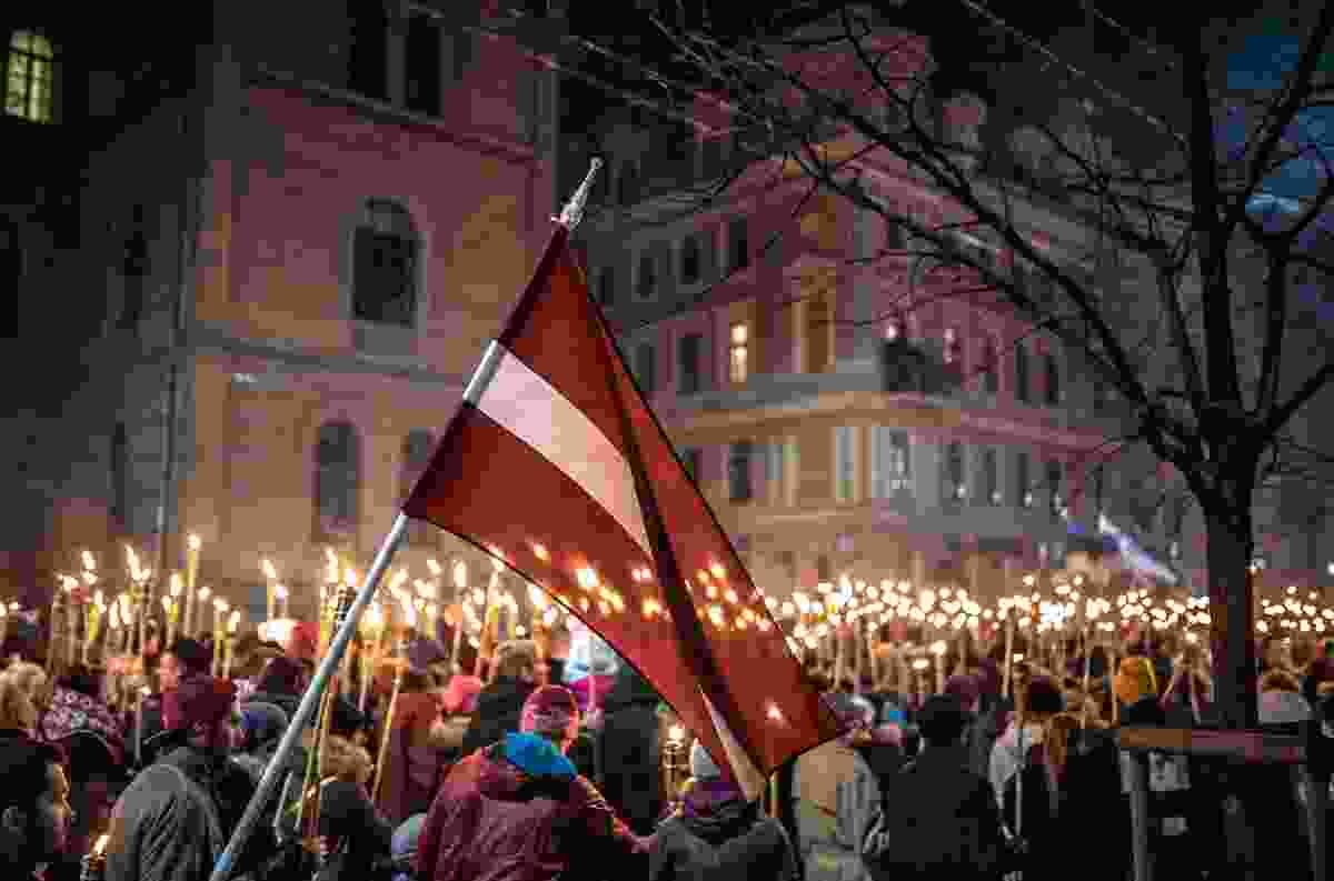 The torchlit procession on Proclamation Day, Riga, Latvia (Shutterstock)