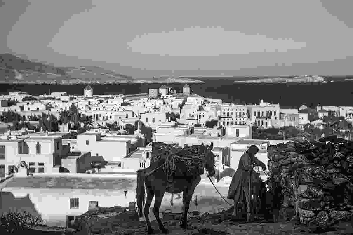 Outside the windmill of Pentaras a woman ties up her mule so she can walk to Chora to shop (Robert A. McCabe)