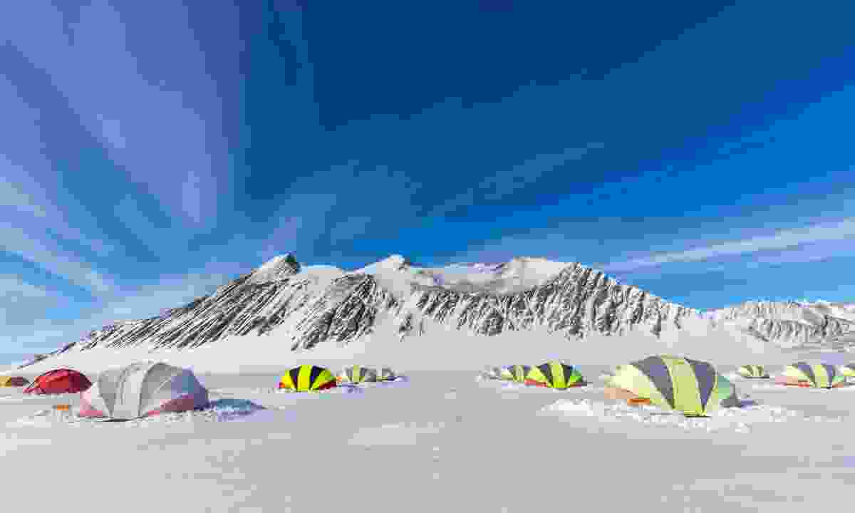Campsite at Union Glacier in the Ellsworth Mountains, Antarctica (Shutterstock)