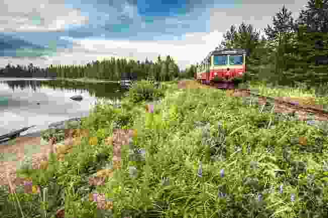 Sweden Inlandsbanan by lake