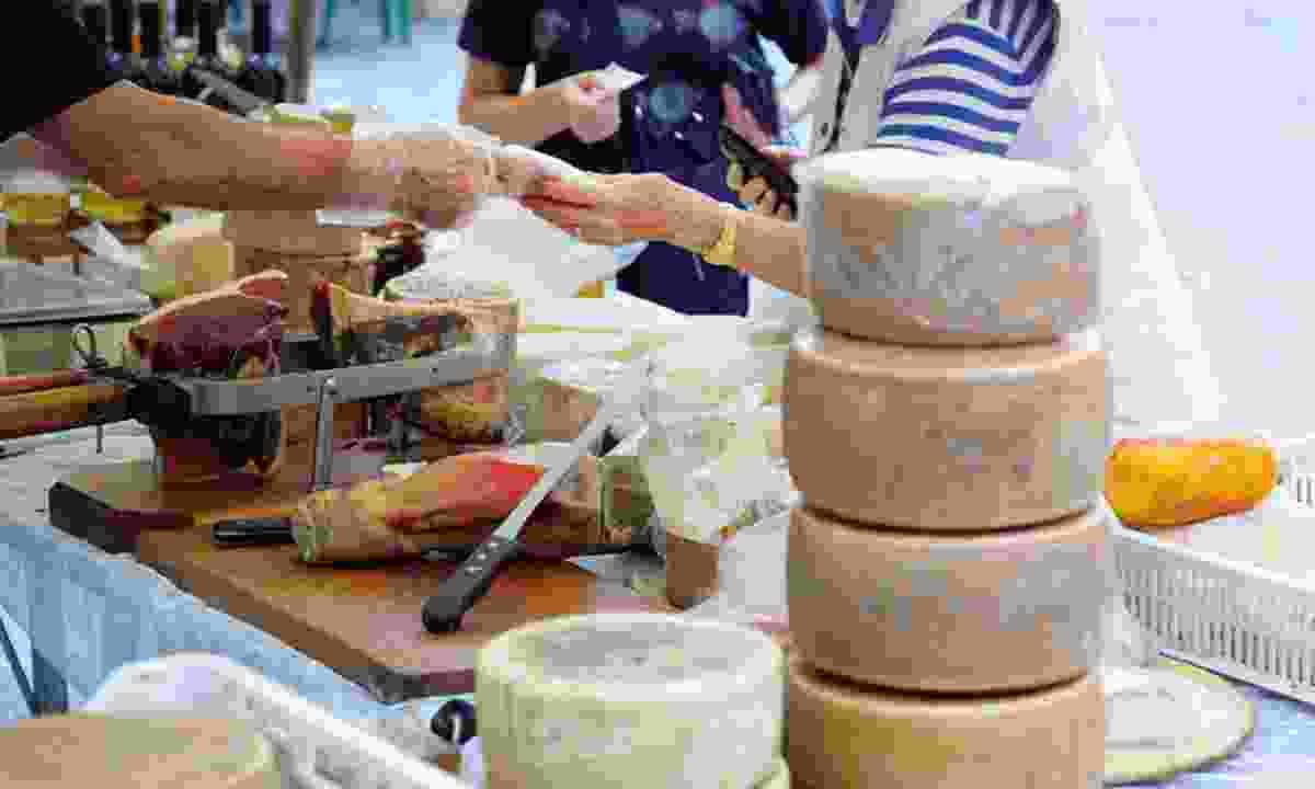 Italian cheese market (Great Rail Journeys)