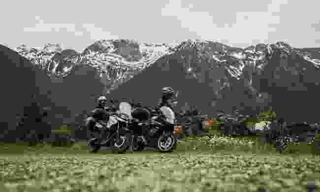 Motorcyclists riding through Nisg'a Highway on Route 16 (Destination British Columbia, Jong Sun Park)