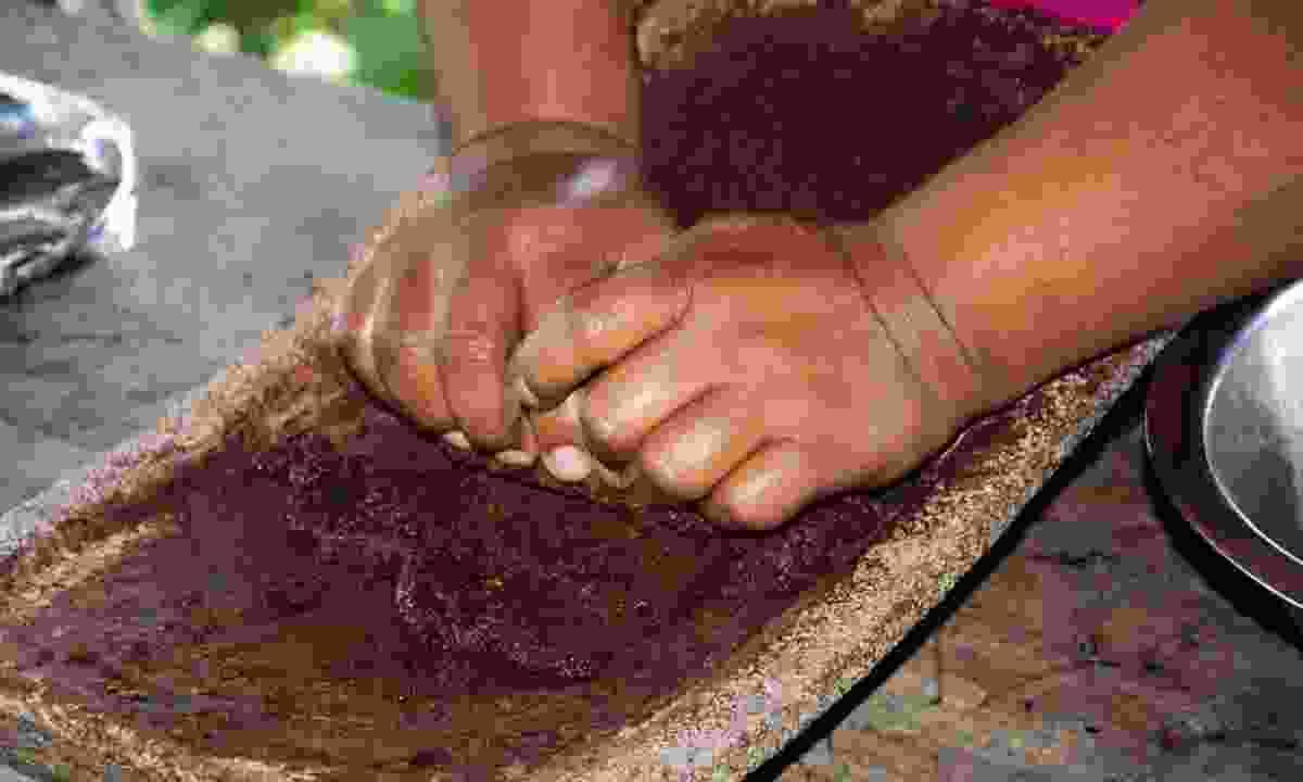 Adalia making traditional chocolate (Simon Chubb)