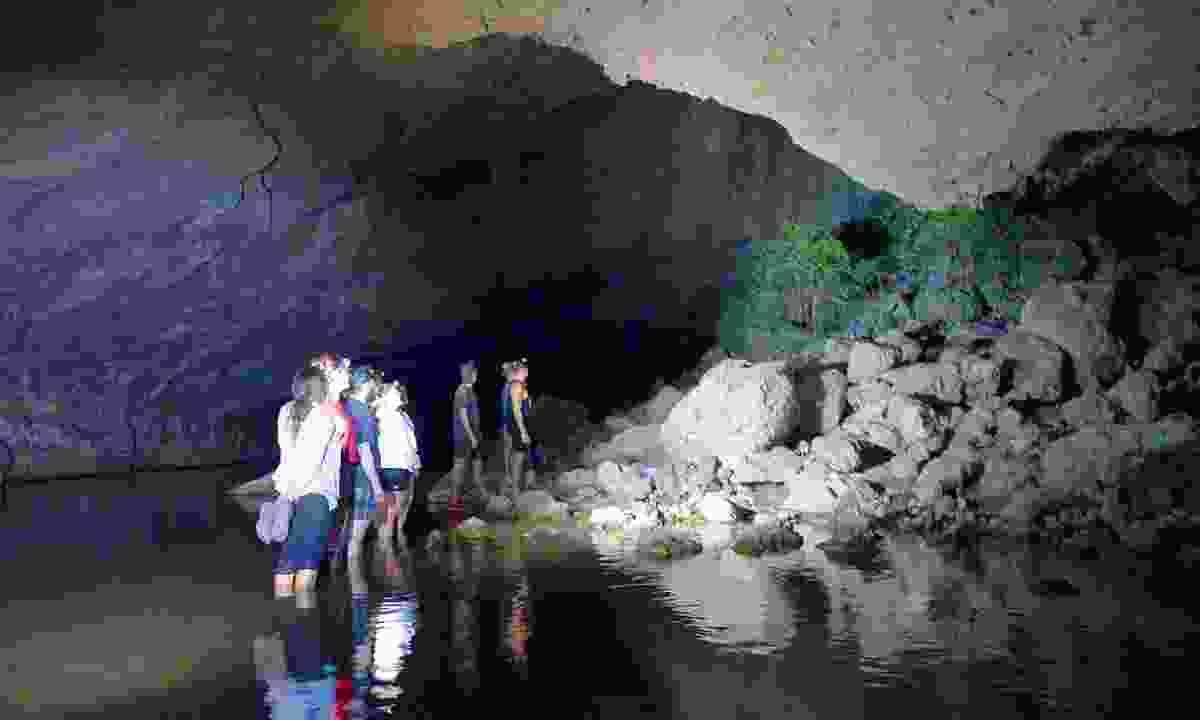 Exploring in Tunnel Creek at night, when the wildlife begin to awaken (Phoebe Smith)
