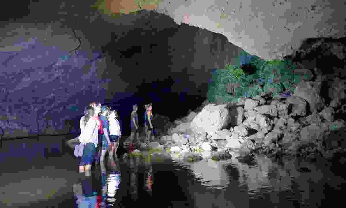 Exploring in Tunnel Creek at night, when the wildlife begin to awaken (Phoebe Smith)