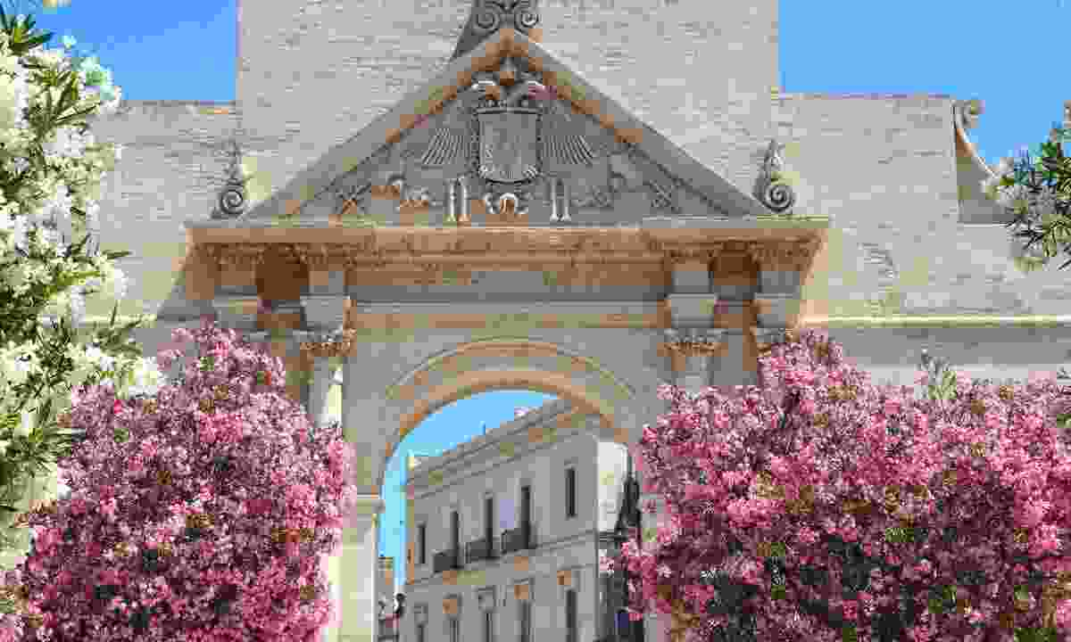 Oleander flowers frame Porta Napoli Triumphal Arch in Lecce (Dreamstime)