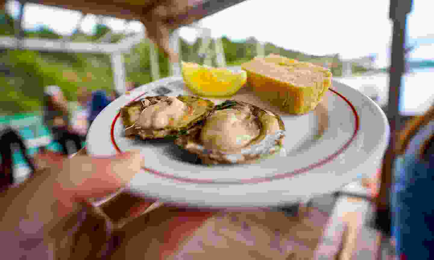 Fresh oyster in plate of bread and lemon at Mali Ston (Shutterstock)
