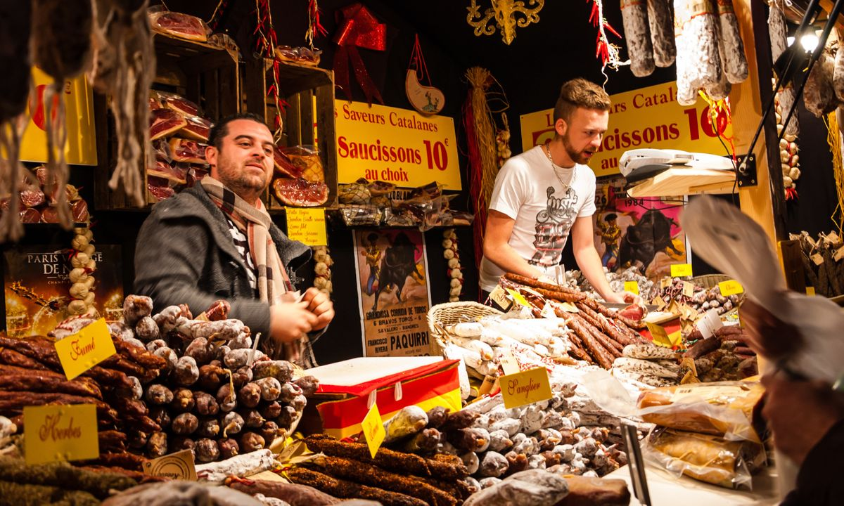 Sausage market stall in France (Shutterstock)