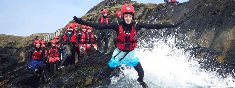 Kids coasteering in Pembrokeshire (Celtic Quest Coasteering)