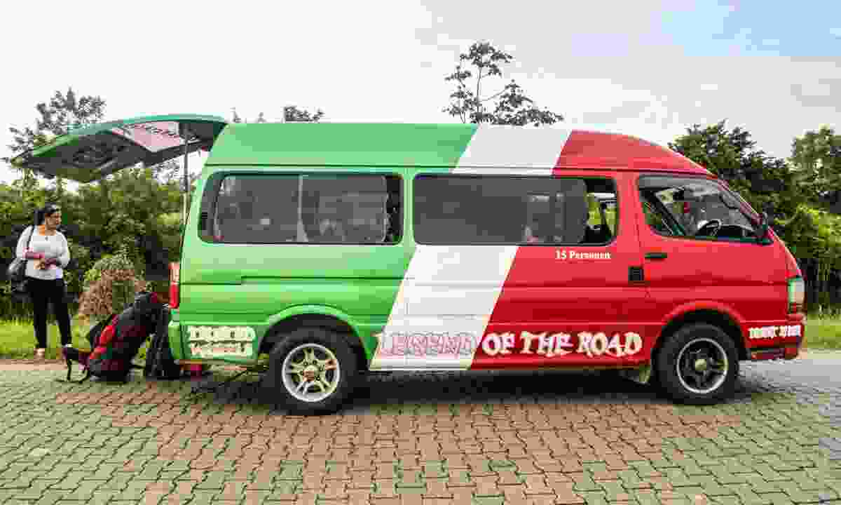 A minibus taking passengers from the capital of Guyana to the border (Dreamstime)