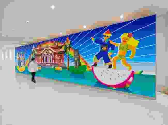 Artist nuQ's installation on display at Naha Airport