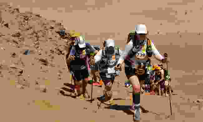 Climbing the highest dune during the Marathon des Sables (Alice Morrison)
