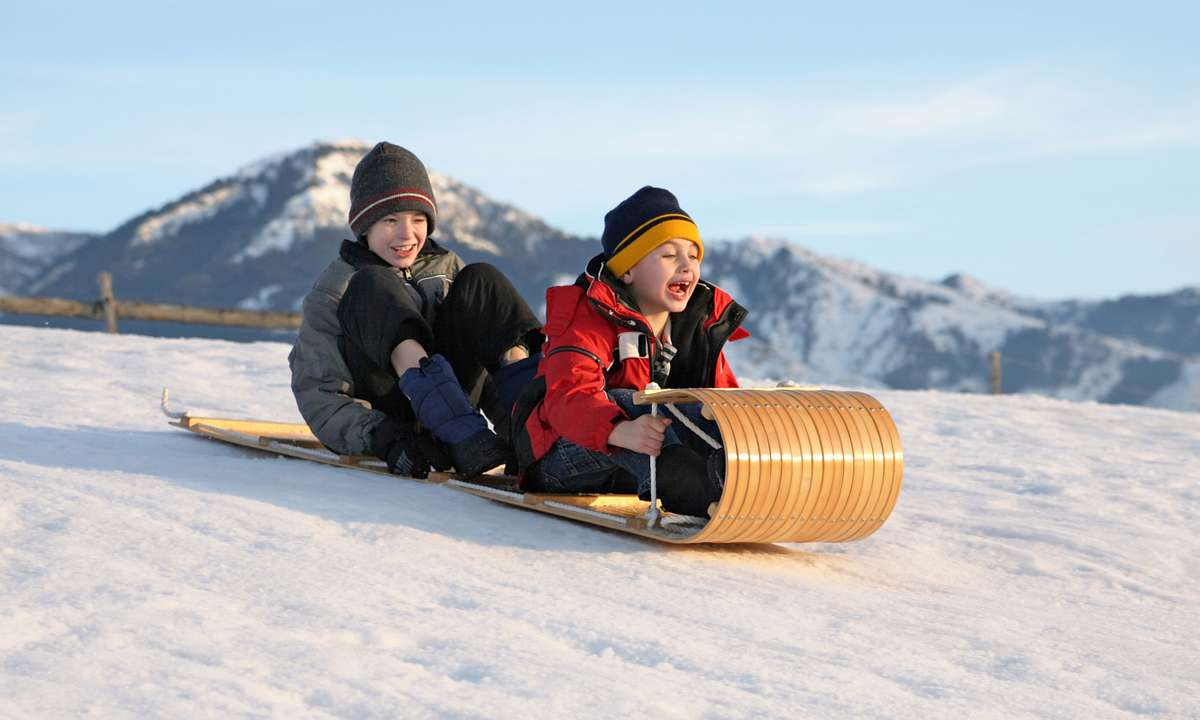 Children on a toboggan (Dreamstime)