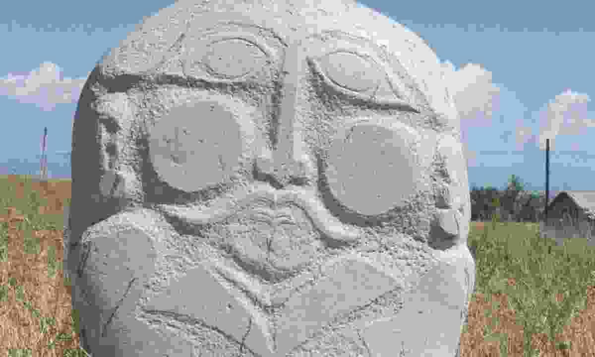 Ancient burial stone near Balasagun (Lyn Hughes)