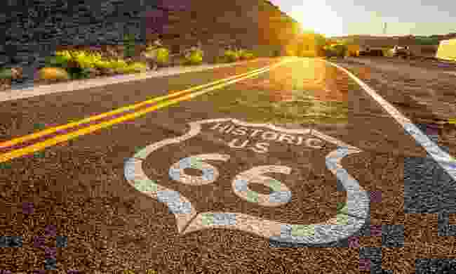 Street sign on historic Route 66 in the Mojave desert (Shutterstock)
