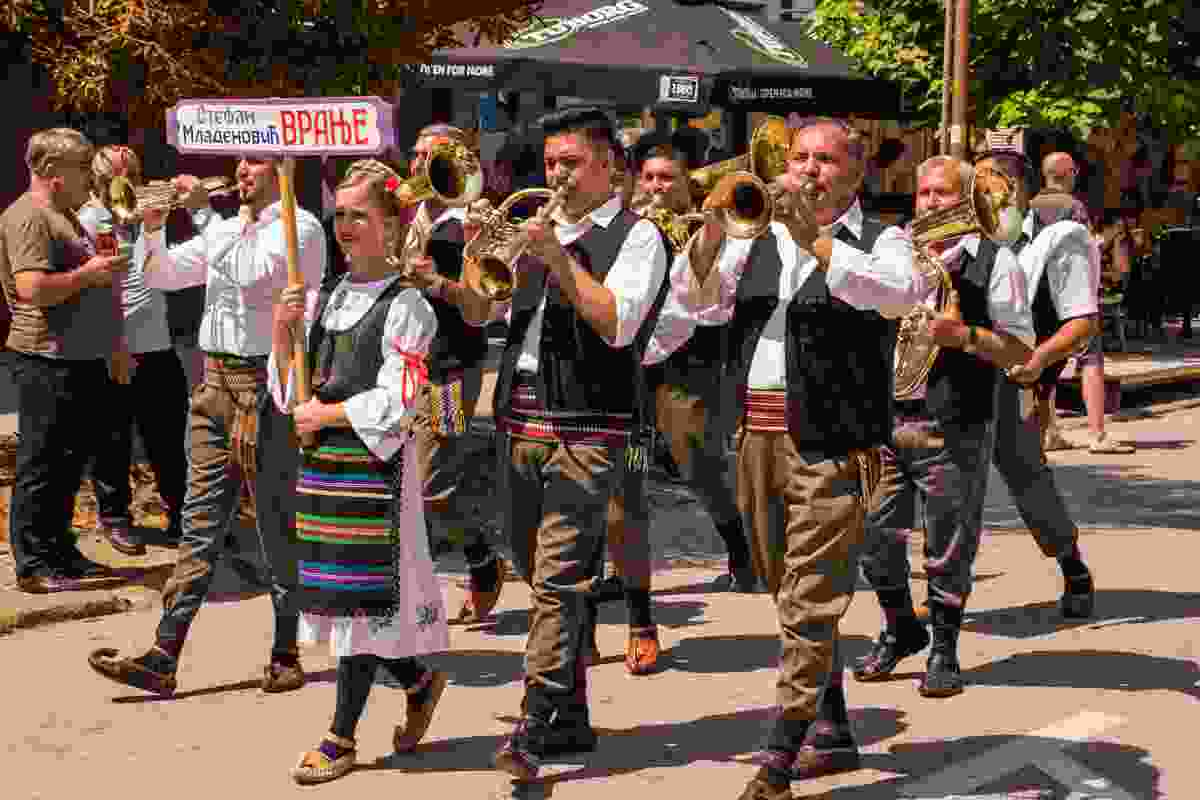 Trumpet performers in Guca, Serbia (Shutterstock