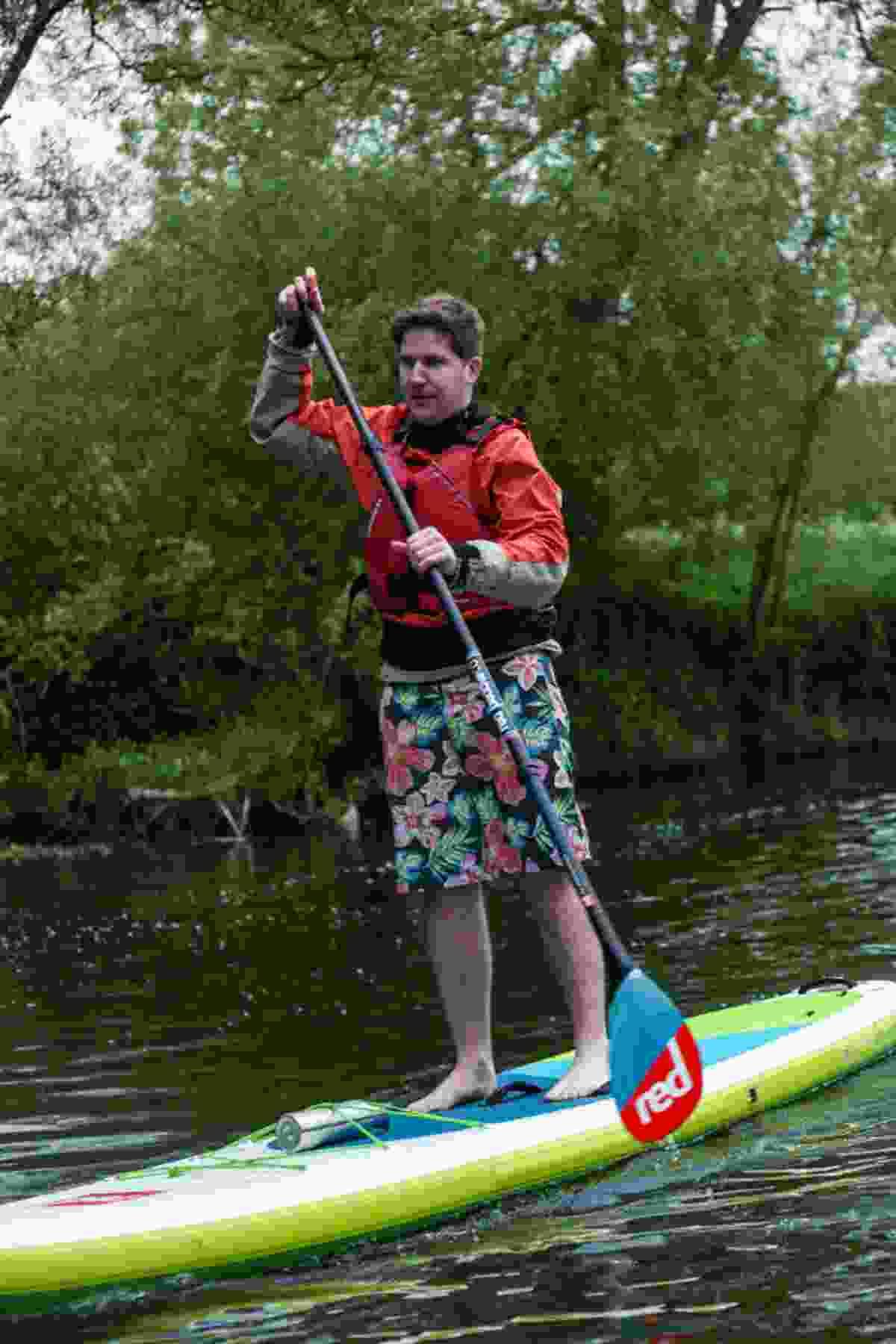 Rhodri learning the paddleboarding ropes (GlobalShots)
