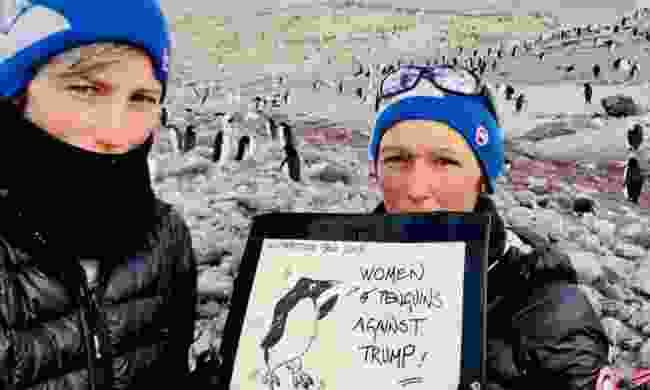 Sophie and Julie Monière staging a women's march in Antarctica (Sophie Darlington)
