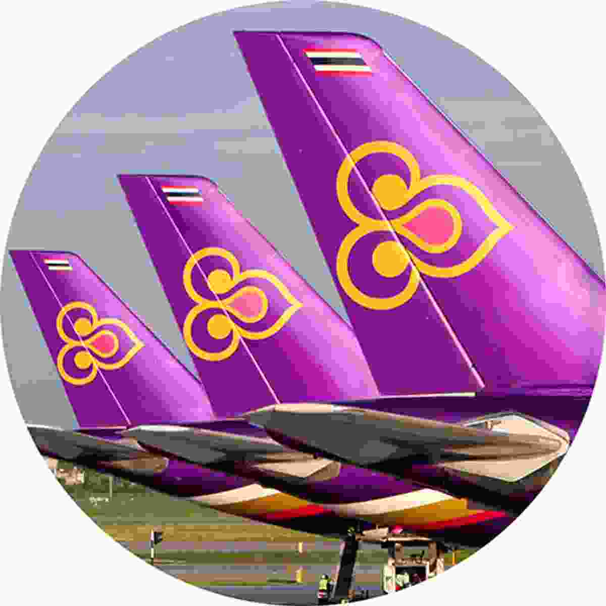 The Thai Airways logo is a stylised magnolia blossom. Turn it sideways, however, and it becomes a representation of 'way', the traditional Thai greeting (Shutterstock)