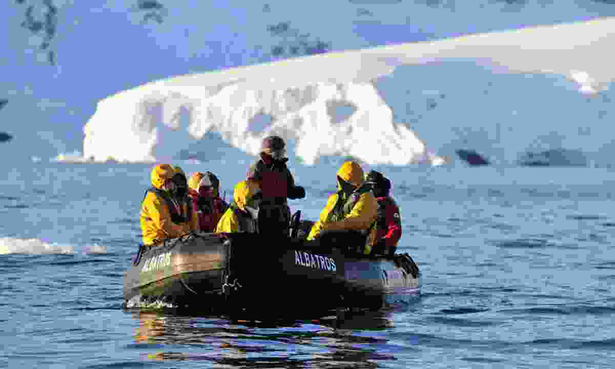 Hayley leading a tour in Antarctica (Polar Latitudes)