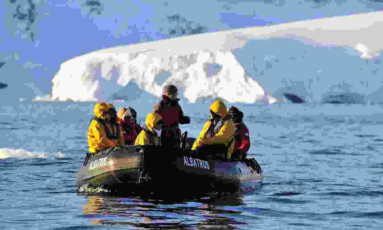 Hayley leading a tour in Antarctica (Polar Latitudes)