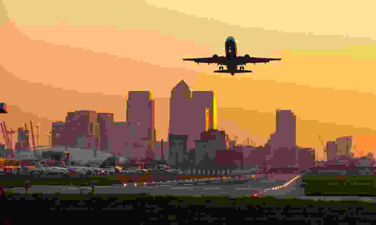 A plane taking off from London City aiport (Shutterstock)