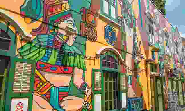 Just one of many bold murals in Bras Basah.Bugis, Singapore (Dreamstime)