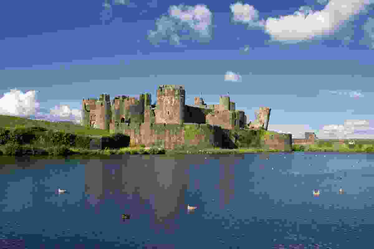 Caerphilly Castle ruins and reservoir, Wales (Dreamstime)