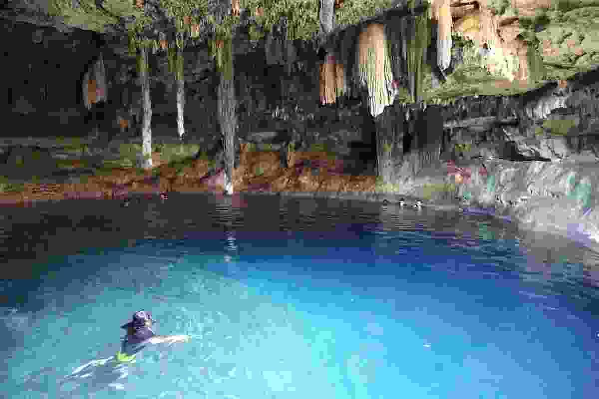 Locals swimming at Cenote Kankirixché (Graeme Green)