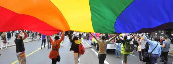Rainbow flag on Pride March (Shutterstock)