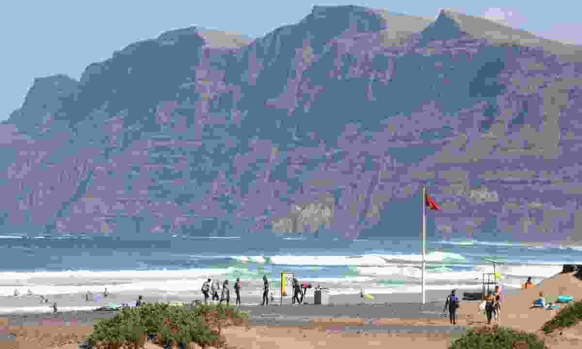 The popular surf beach at Famara in Lanzarote (Dreamstime)