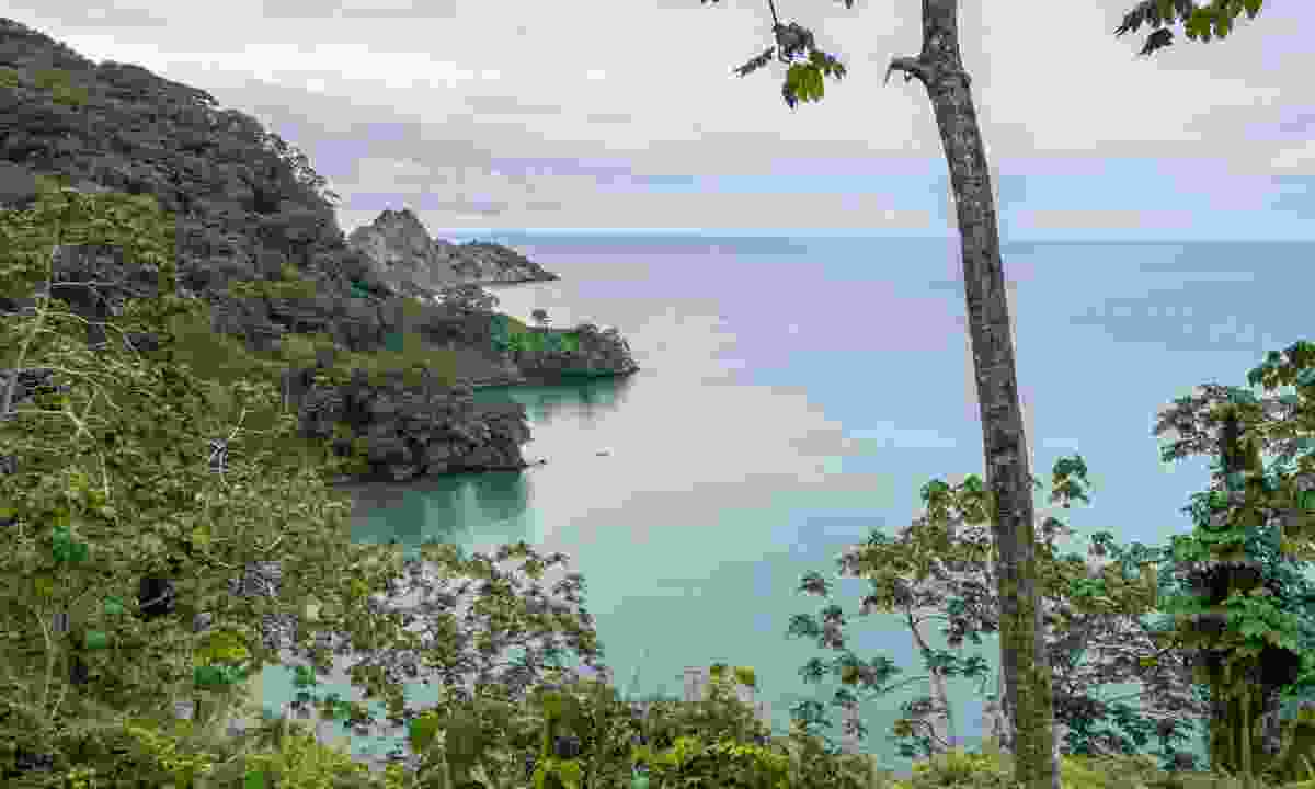 View over Chatham Bay, Cocos Island (Dreamstime)