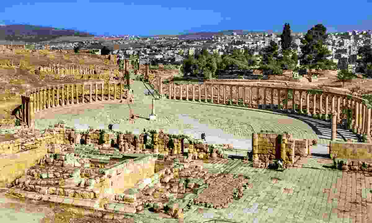 The collonaded forum in the ancient city of Jerash (Shutterstock)