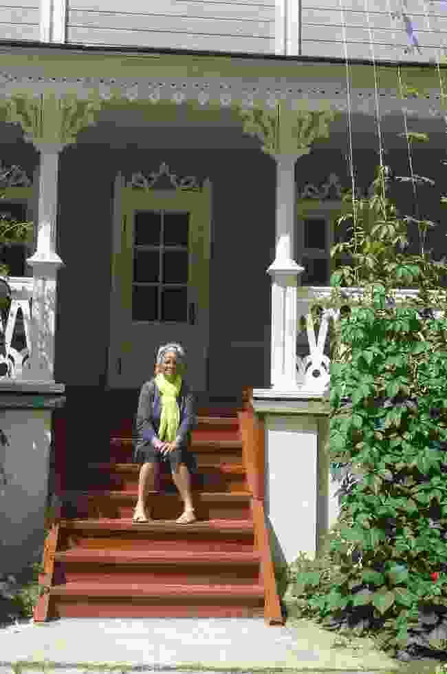 Sara on the steps of novellist  Ivan Turgenev's house, Russia (Sara Wheeler)