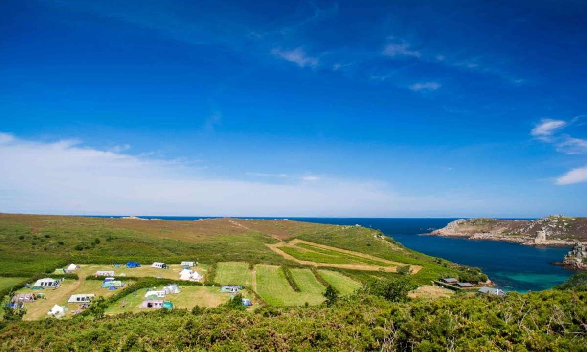Bryher overlooking the Cornish coast (Bryher Campsite)