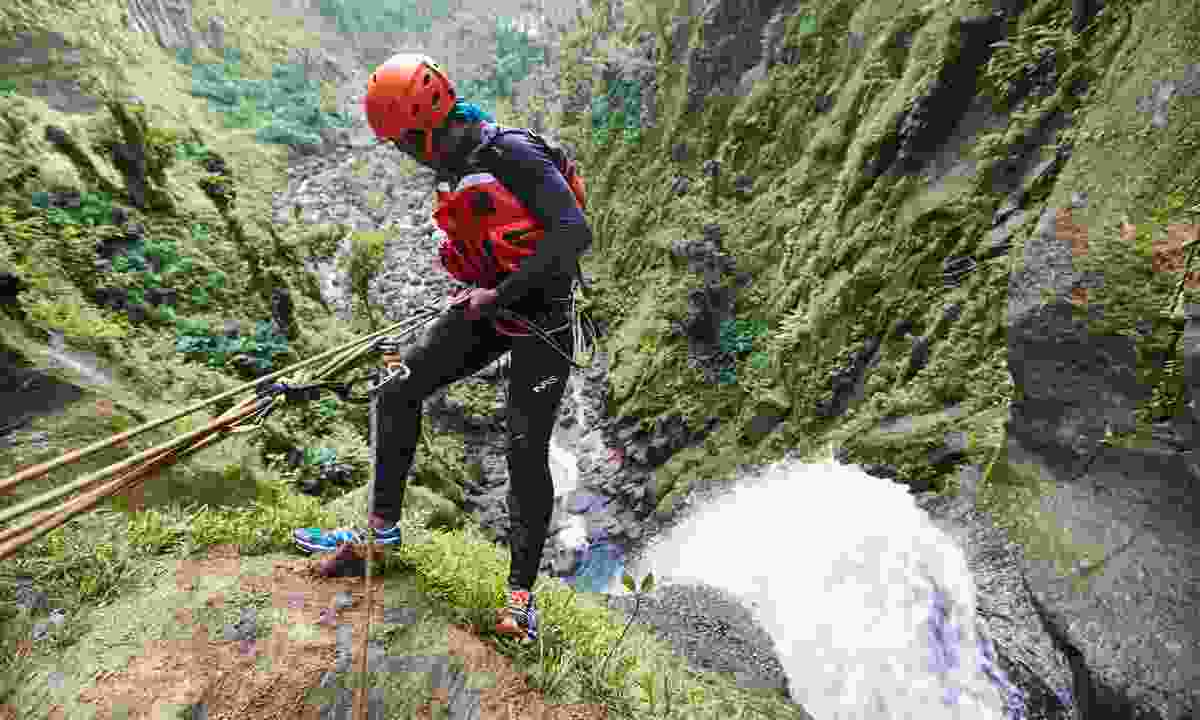Canyoning down a river gorge