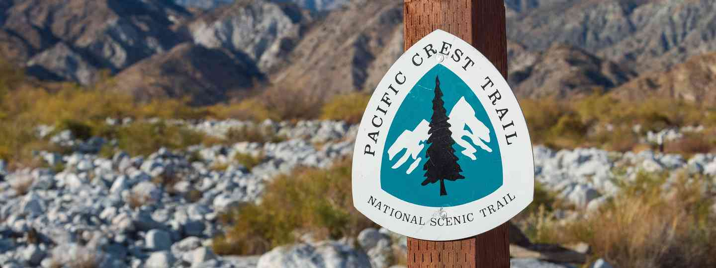 Sign marking the PCT in Whitewater Preserve in Southern California. (Dreamstime)