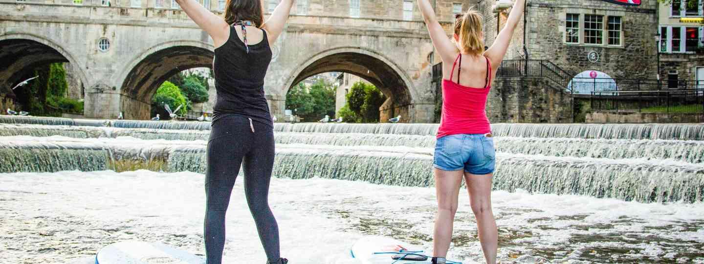Paddleboarding in front of Pulteney Bridge (Original Wild/Visit Bath)