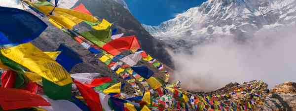 Prayer flags on Mount Annapurna (Shutterstock)