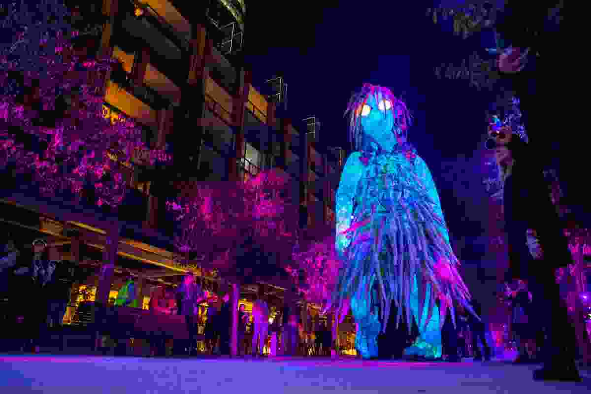 Giant illuminated figure at Barangaroo (VividSydney)