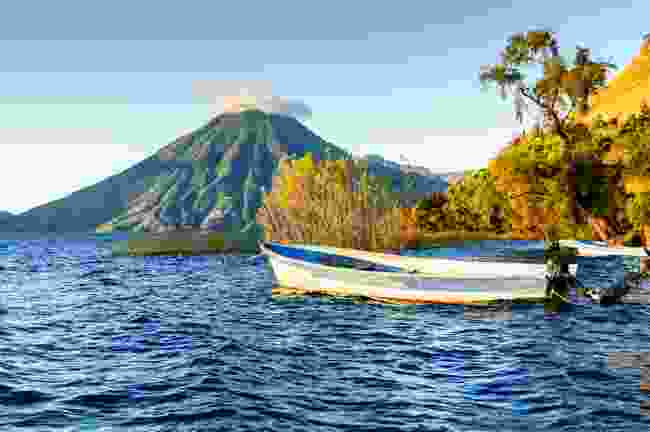 San Pedro Volcano behind Lake Atitlán (Shutterstock)