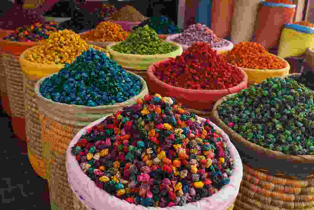A colourful array of spices on display in Jemaa el Fnaa Square, Morocco (Shutterstock)