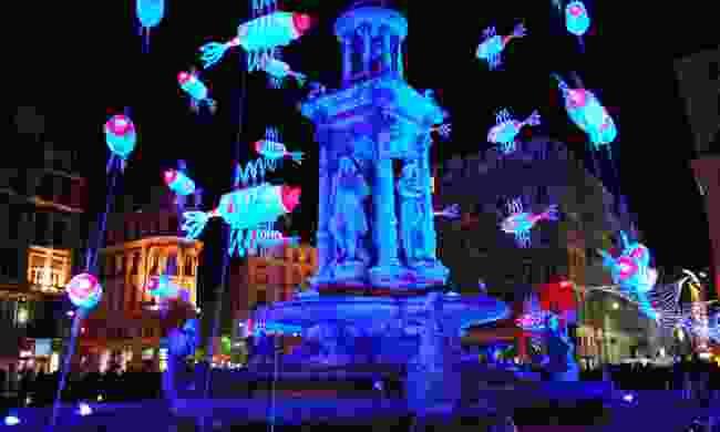 Light installation during Fête des Lumières (Shutterstock)