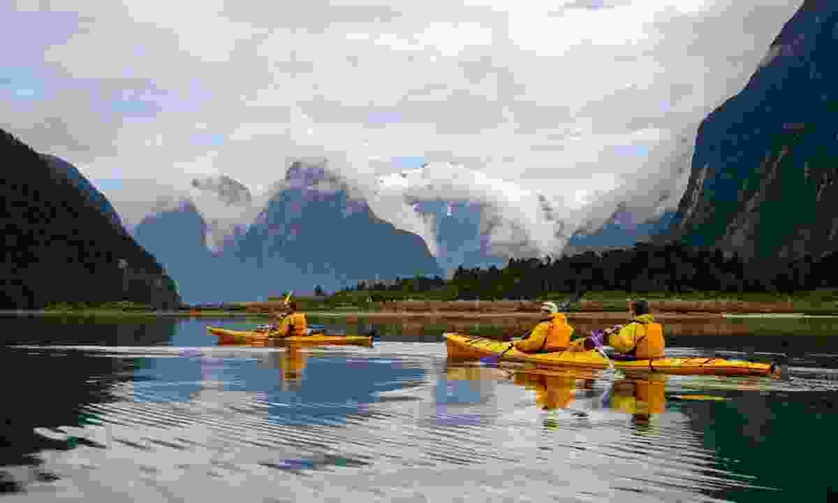 Sea kayaking near Milford Sound (Shutterstock)