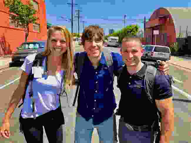 With Los Angeles street medics Gabrielle Johnson and Brett Feldman, California (BBC/Ruairi Dunne)